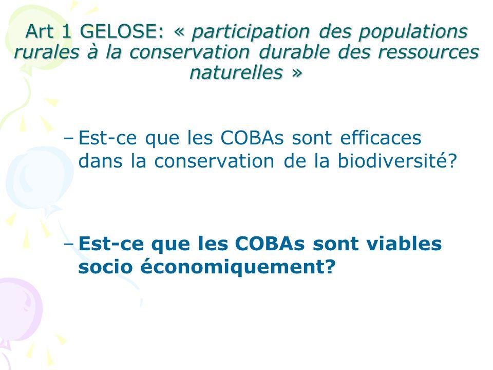 –Est-ce que les COBAs sont efficaces dans la conservation de la biodiversité? –Est-ce que les COBAs sont viables socio économiquement? Art 1 GELOSE: «