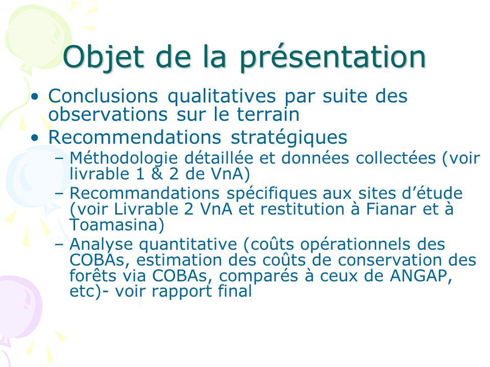 Objet de la présentation Conclusions qualitatives par suite des observations sur le terrain Recommendations stratégiques –Méthodologie détaillée et do