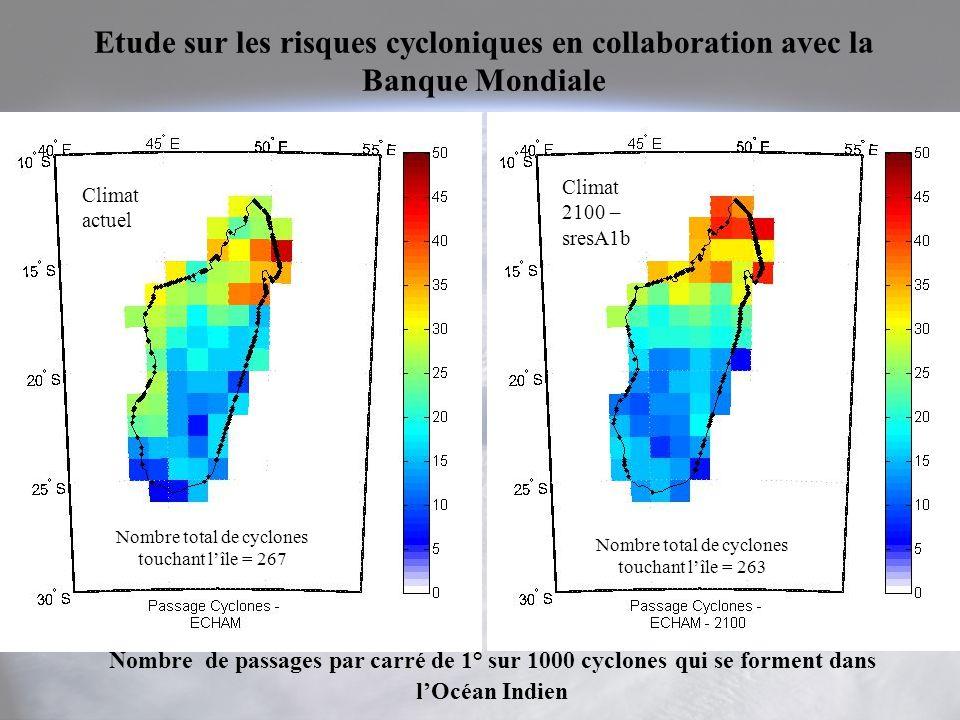 Etude sur les risques cycloniques en collaboration avec la Banque Mondiale Climat actuel Climat 2100 – sresA1b Nombre de passages par carré de 1° sur