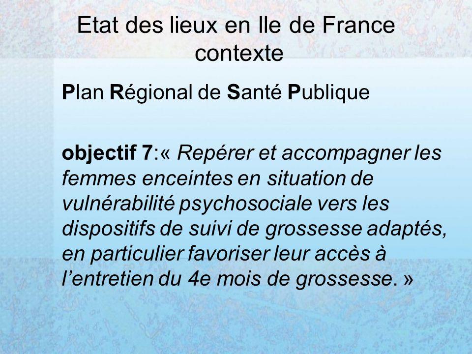 Etat des lieux en Ile de France contexte Plan Régional de Santé Publique objectif 7:« Repérer et accompagner les femmes enceintes en situation de vulnérabilité psychosociale vers les dispositifs de suivi de grossesse adaptés, en particulier favoriser leur accès à lentretien du 4e mois de grossesse.