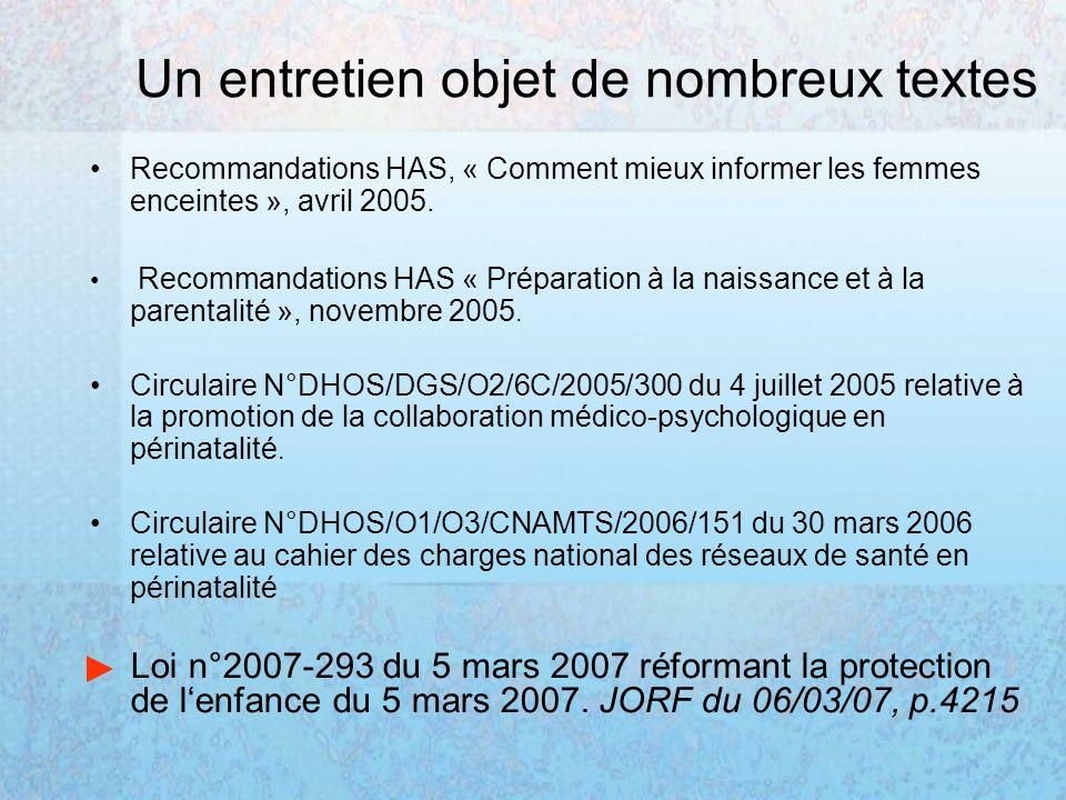 Un entretien objet de nombreux textes Recommandations HAS, « Comment mieux informer les femmes enceintes », avril 2005. Recommandations HAS « Préparat