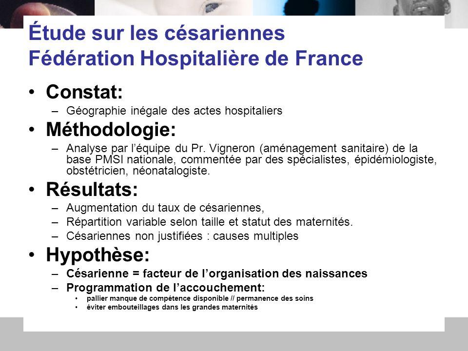 9 avril 092 Étude sur les césariennes Fédération Hospitalière de France Constat: –Géographie inégale des actes hospitaliers Méthodologie: –Analyse par