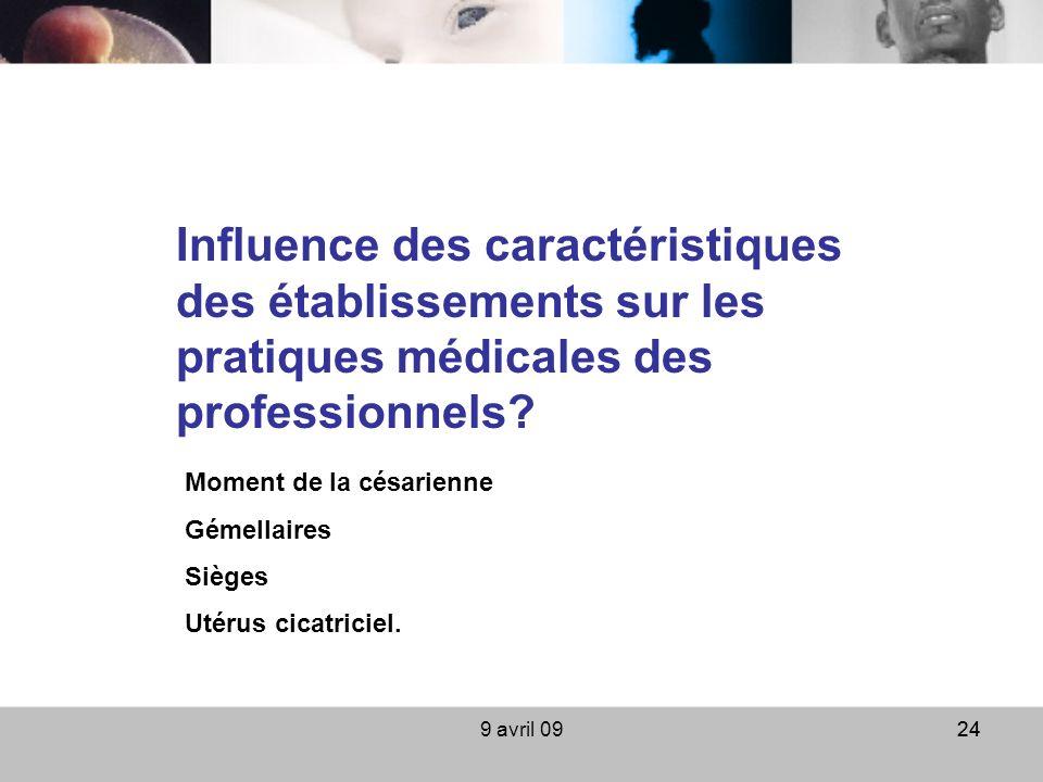 9 avril 0924 Influence des caractéristiques des établissements sur les pratiques médicales des professionnels? Moment de la césarienne Gémellaires Siè