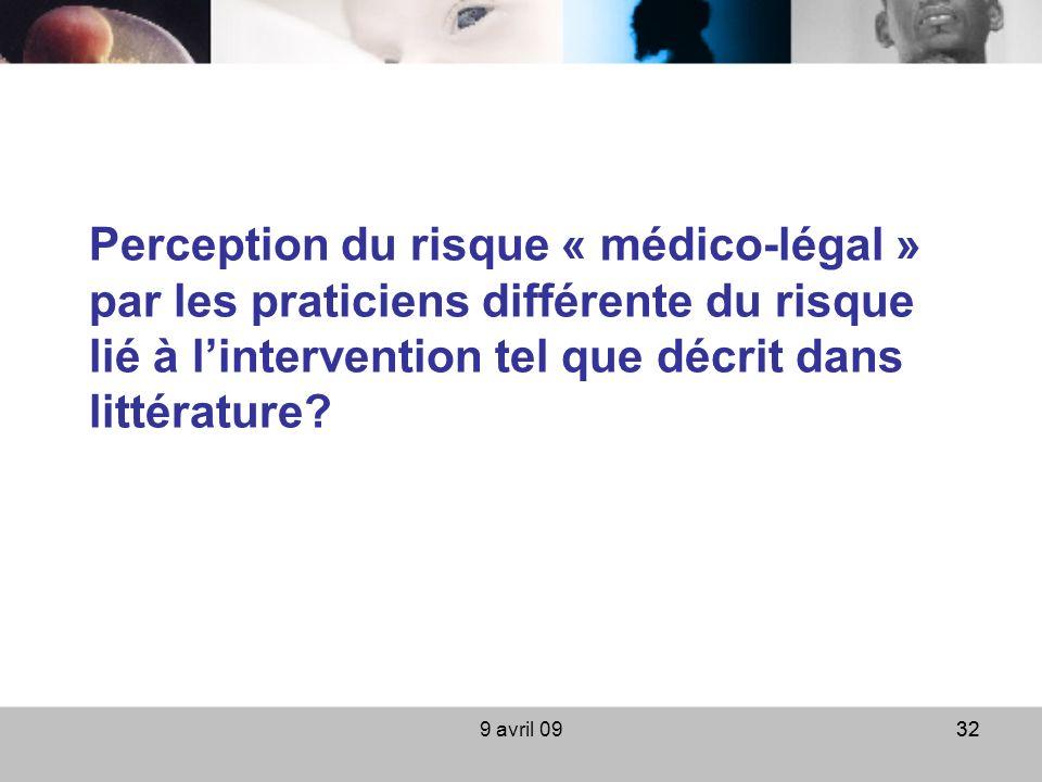 9 avril 0932 Perception du risque « médico-légal » par les praticiens différente du risque lié à lintervention tel que décrit dans littérature?
