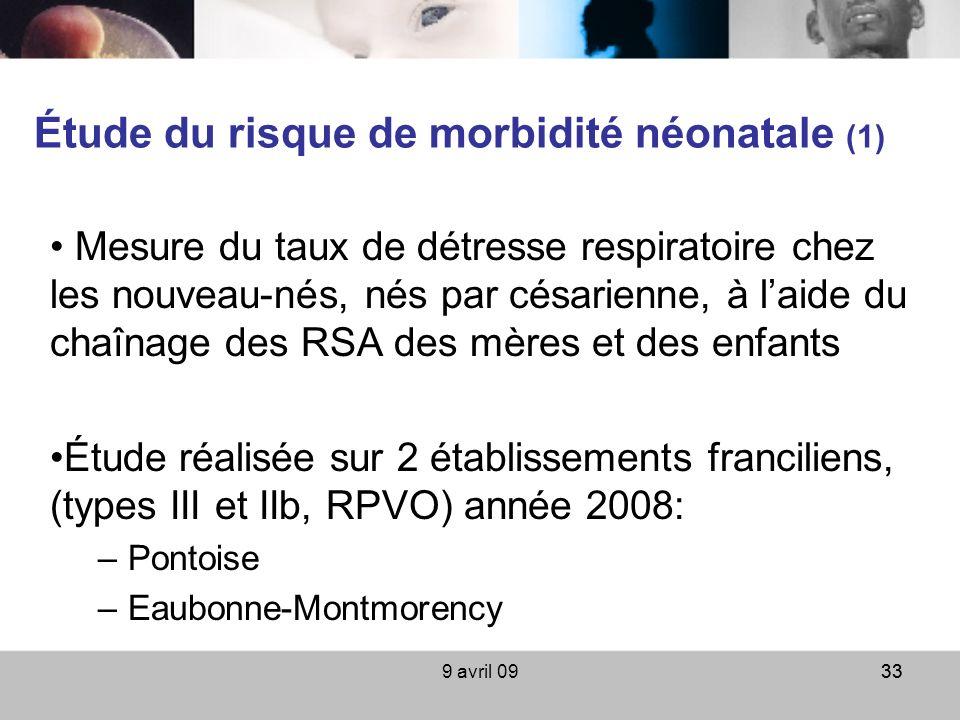 9 avril 0933 Étude du risque de morbidité néonatale (1) Mesure du taux de détresse respiratoire chez les nouveau-nés, nés par césarienne, à laide du c