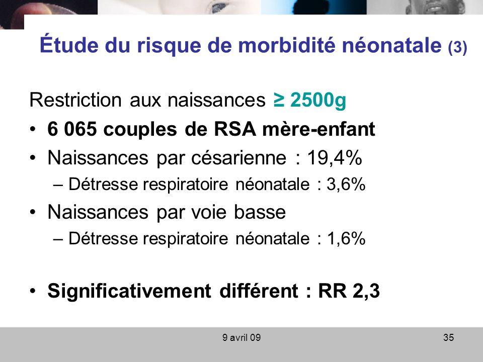 9 avril 0935 Étude du risque de morbidité néonatale (3) Restriction aux naissances 2500g 6 065 couples de RSA mère-enfant Naissances par césarienne :