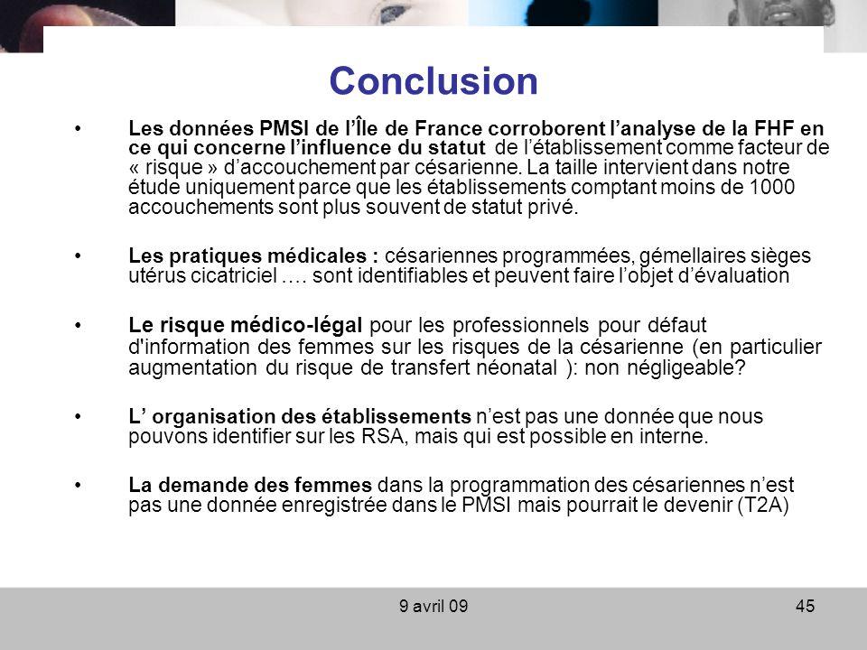 9 avril 0945 Conclusion Les données PMSI de lÎle de France corroborent lanalyse de la FHF en ce qui concerne linfluence du statut de létablissement co