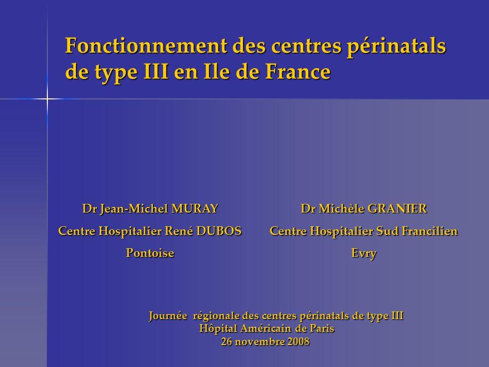 Les centres périnatals de type III Evolution 2000 : 12 centres 2004 : 13 centres 2008 : 16 centres 2012 : 16 centres Necker-IPP / Cochin-SVP