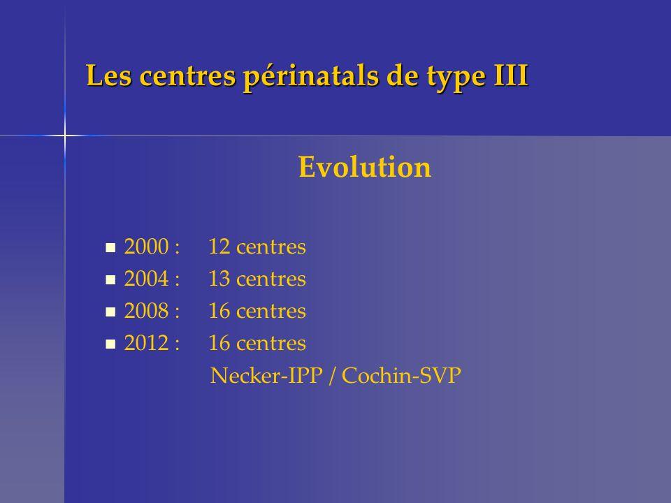 En 2000 12 centres de type 3 Pontoise St Denis Poissy Argenteuil Montreuil Créteil Béclère Necker Cochin SVP IPP R.