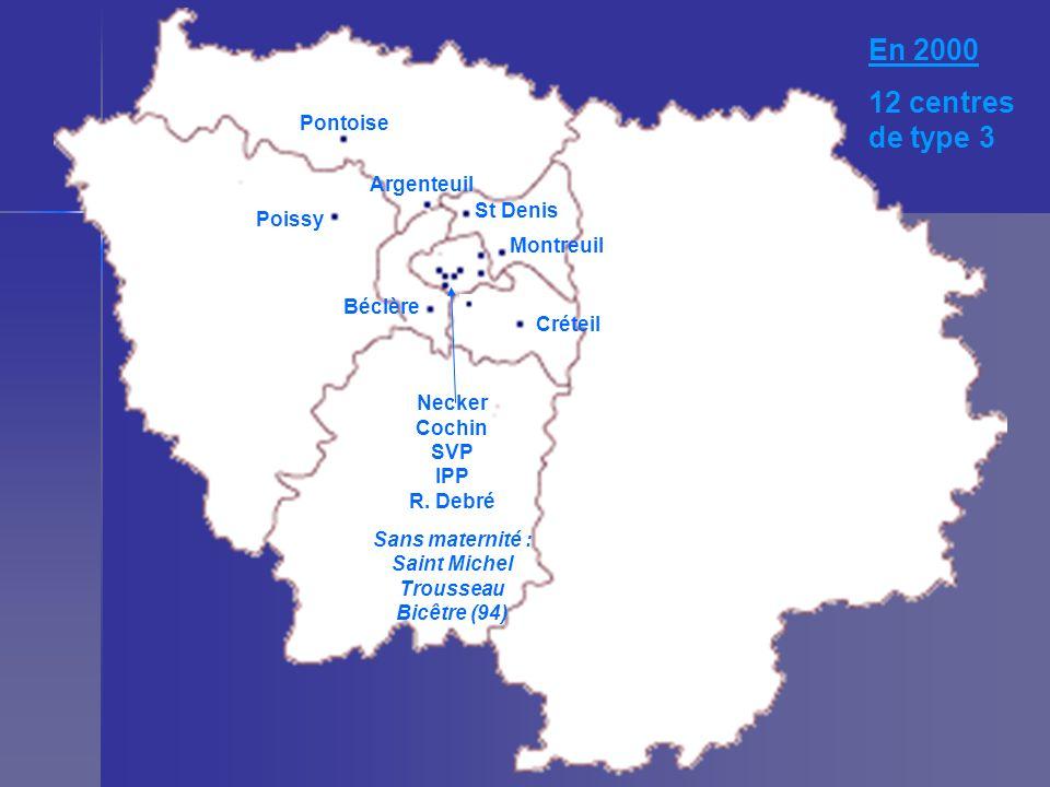 En 2000 12 centres de type 3 Pontoise St Denis Poissy Argenteuil Montreuil Créteil Béclère Necker Cochin SVP IPP R. Debré Sans maternité : Saint Miche