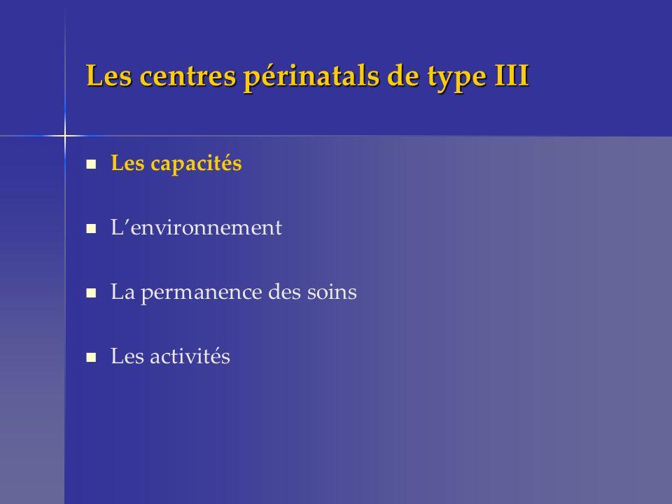 Les centres périnatals de type III Les capacités Lenvironnement La permanence des soins Les activités