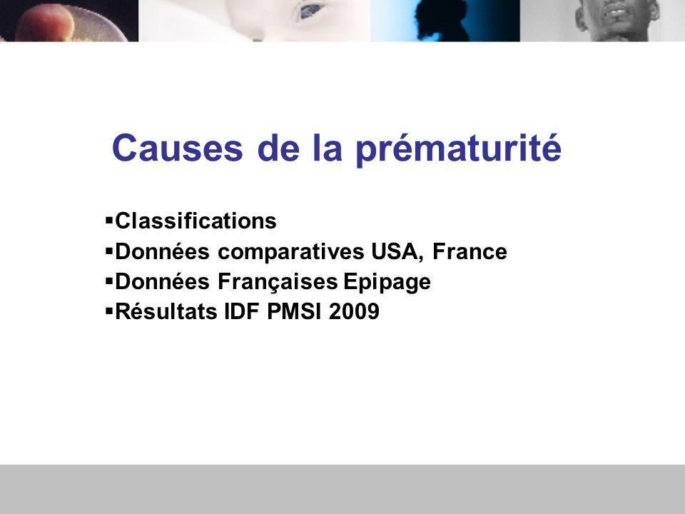 Causes de la prématurité Classifications Données comparatives USA, France Données Françaises Epipage Résultats IDF PMSI 2009