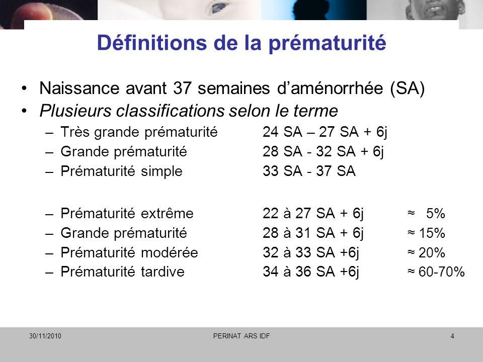 30/11/2010PERINAT ARS IDF4 Définitions de la prématurité Naissance avant 37 semaines daménorrhée (SA) Plusieurs classifications selon le terme –Très g