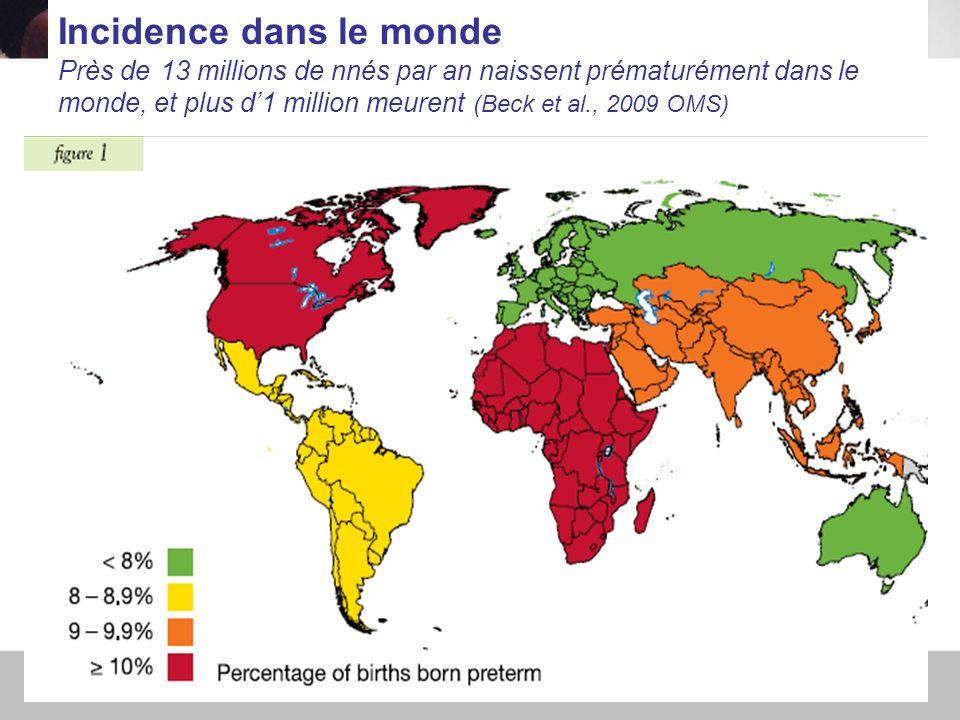 30/11/2010PERINAT ARS IDF5 Incidence dans le monde Près de 13 millions de nnés par an naissent prématurément dans le monde, et plus d1 million meurent