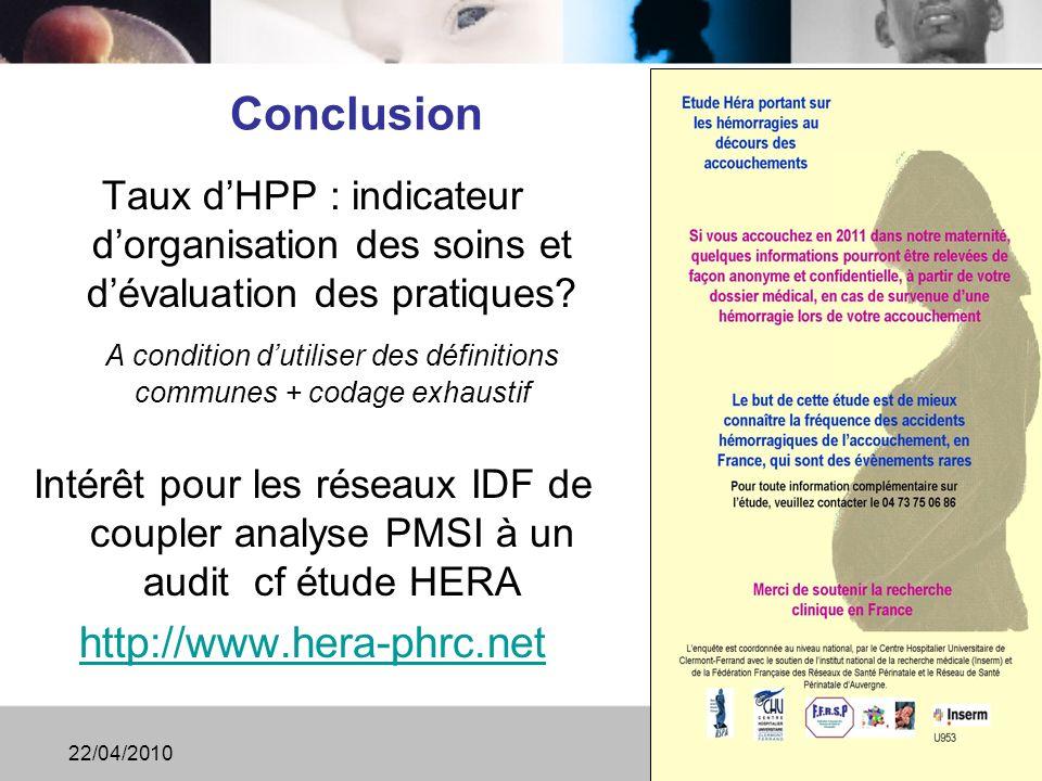 Conclusion Taux dHPP : indicateur dorganisation des soins et dévaluation des pratiques.