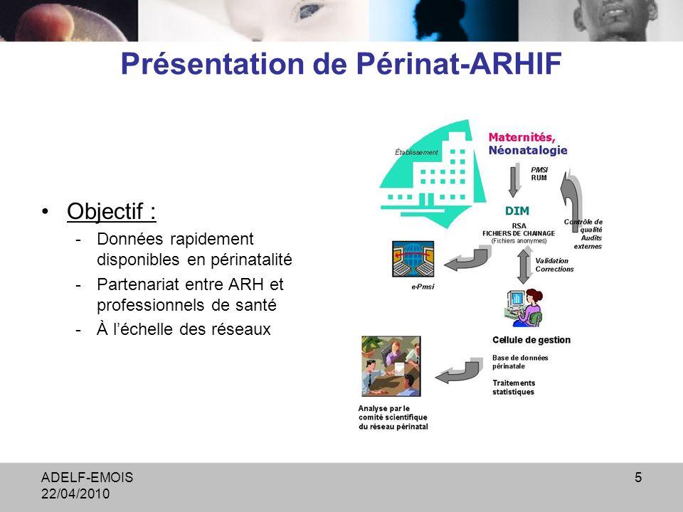 ADELF-EMOIS 22/04/2010 5 Présentation de Périnat-ARHIF Objectif : -Données rapidement disponibles en périnatalité -Partenariat entre ARH et professionnels de santé -À léchelle des réseaux