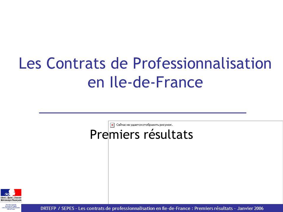 DRTEFP / SEPES – Les contrats de professionnalisation en Ile-de-France : Premiers résultats – Janvier 2006 Les Contrats de Professionnalisation en Ile-de-France Premiers résultats