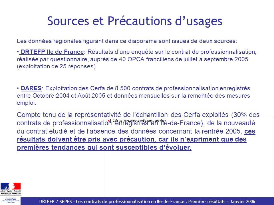 DRTEFP / SEPES – Les contrats de professionnalisation en Ile-de-France : Premiers résultats – Janvier 2006 Des durées demploi plus courtes