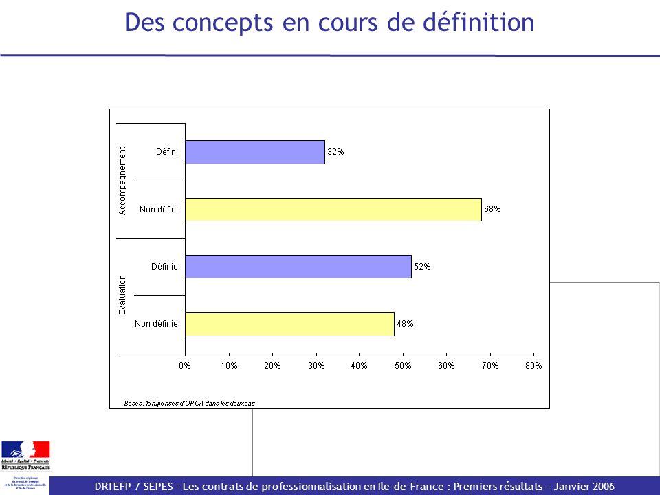 DRTEFP / SEPES – Les contrats de professionnalisation en Ile-de-France : Premiers résultats – Janvier 2006 Des concepts en cours de définition
