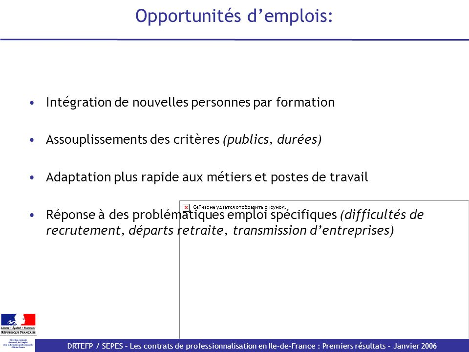 DRTEFP / SEPES – Les contrats de professionnalisation en Ile-de-France : Premiers résultats – Janvier 2006 Les reconnaissances de branches et certifications en développement