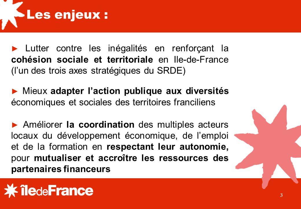 3 Lutter contre les inégalités en renforçant la cohésion sociale et territoriale en Ile-de-France (lun des trois axes stratégiques du SRDE) Mieux adap