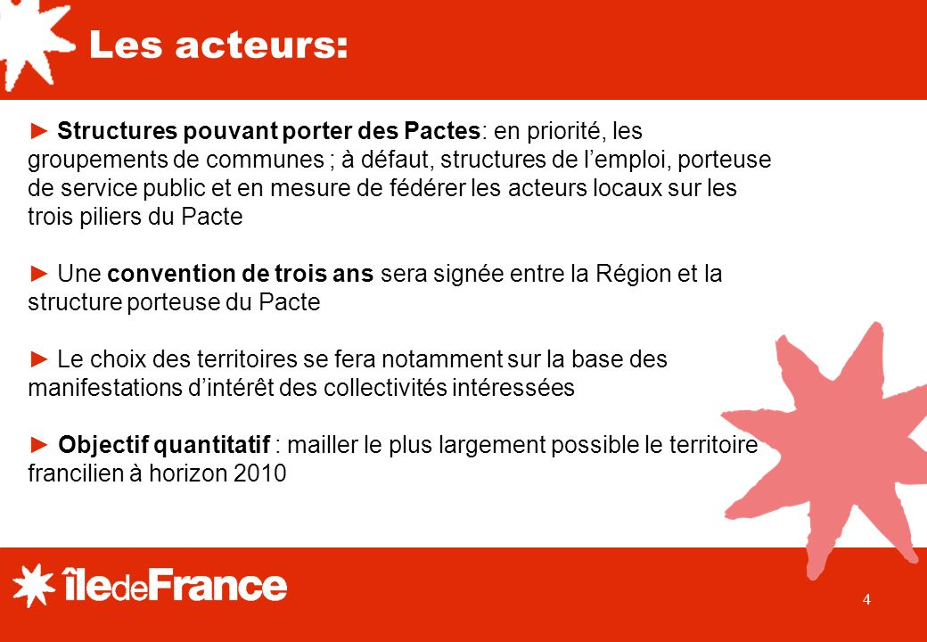 4 Structures pouvant porter des Pactes: en priorité, les groupements de communes ; à défaut, structures de lemploi, porteuse de service public et en m