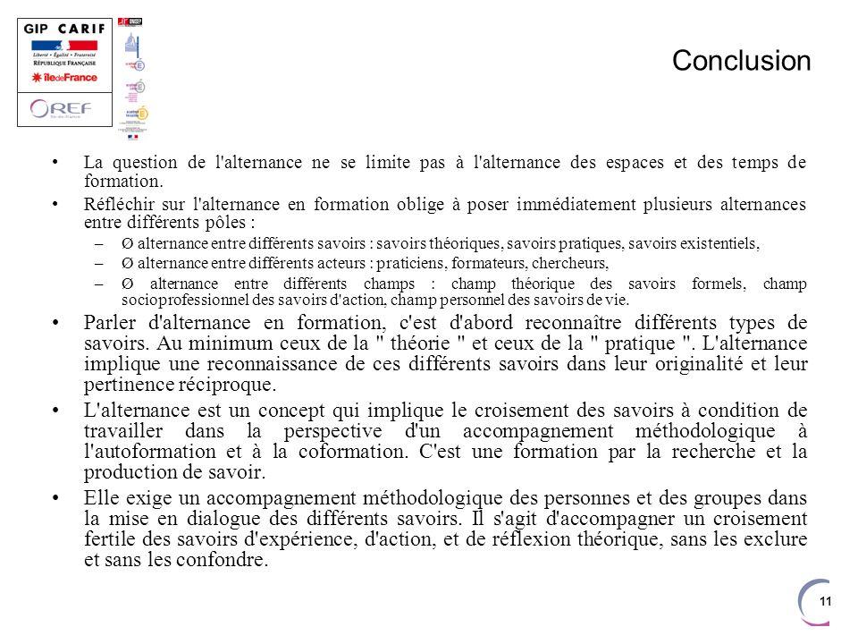 11 Conclusion La question de l'alternance ne se limite pas à l'alternance des espaces et des temps de formation. Réfléchir sur l'alternance en formati