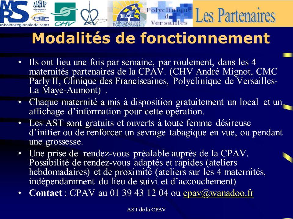AST de la CPAV Modalités organisationnelles Les Ateliers de Sevrage Tabagique (AST) en maternité, constituent un nouveau concept daide, propre à la CP