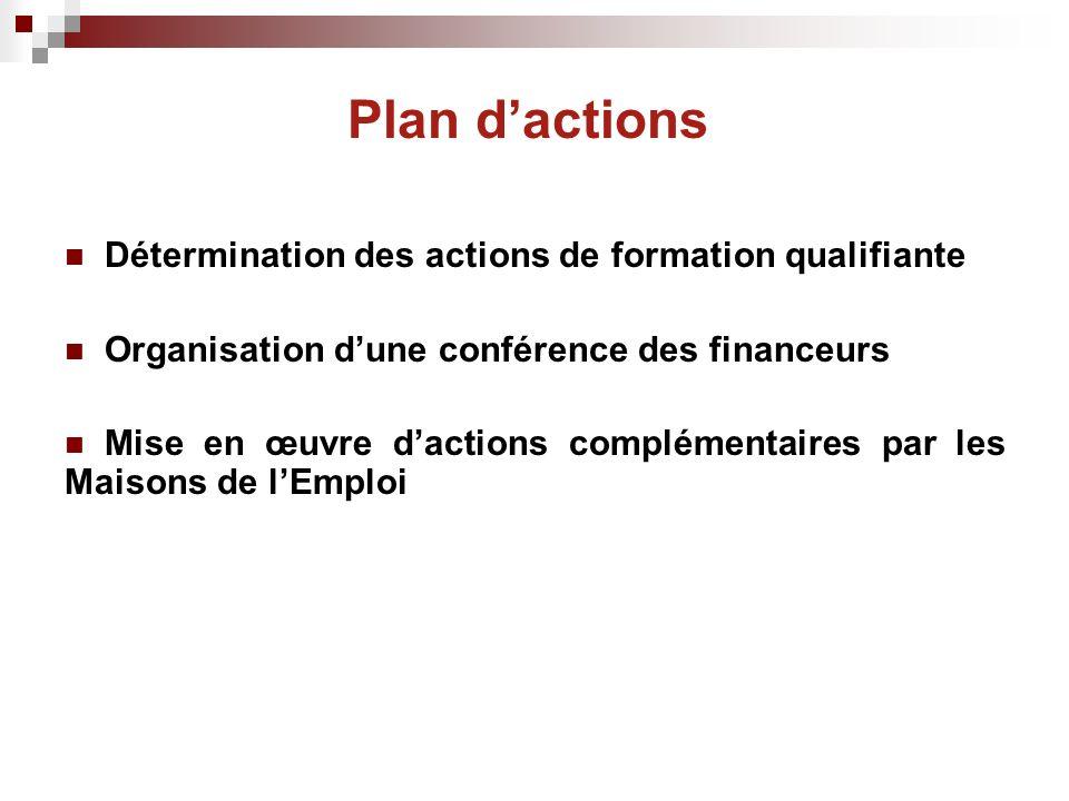 Plan dactions Détermination des actions de formation qualifiante Organisation dune conférence des financeurs Mise en œuvre dactions complémentaires par les Maisons de lEmploi