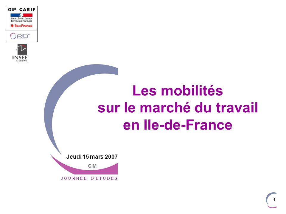 1 J O U R N E E D E T U D E S Jeudi 15 mars 2007 GIM Les mobilités sur le marché du travail en Ile-de-France