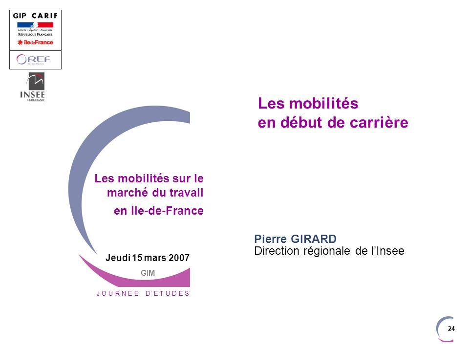 24 Les mobilités en début de carrière Pierre GIRARD Direction régionale de lInsee J O U R N E E D E T U D E S Jeudi 15 mars 2007 GIM Les mobilités sur le marché du travail en Ile-de-France