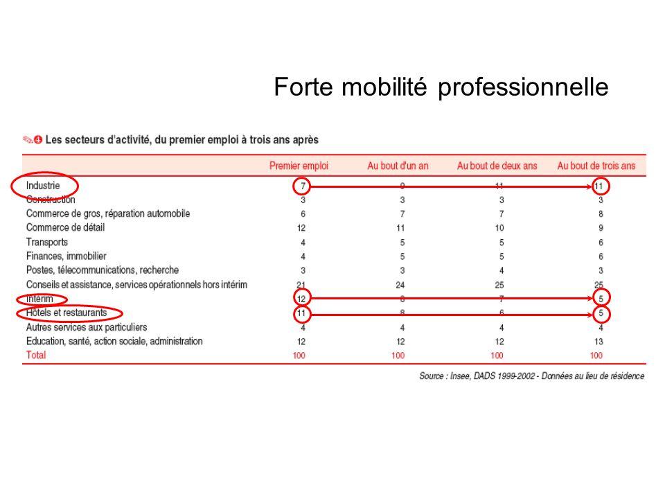 Forte mobilité professionnelle 25% des jeunes en début de carrière connaissent une mobilité sociale 39% changent de secteur dactivité