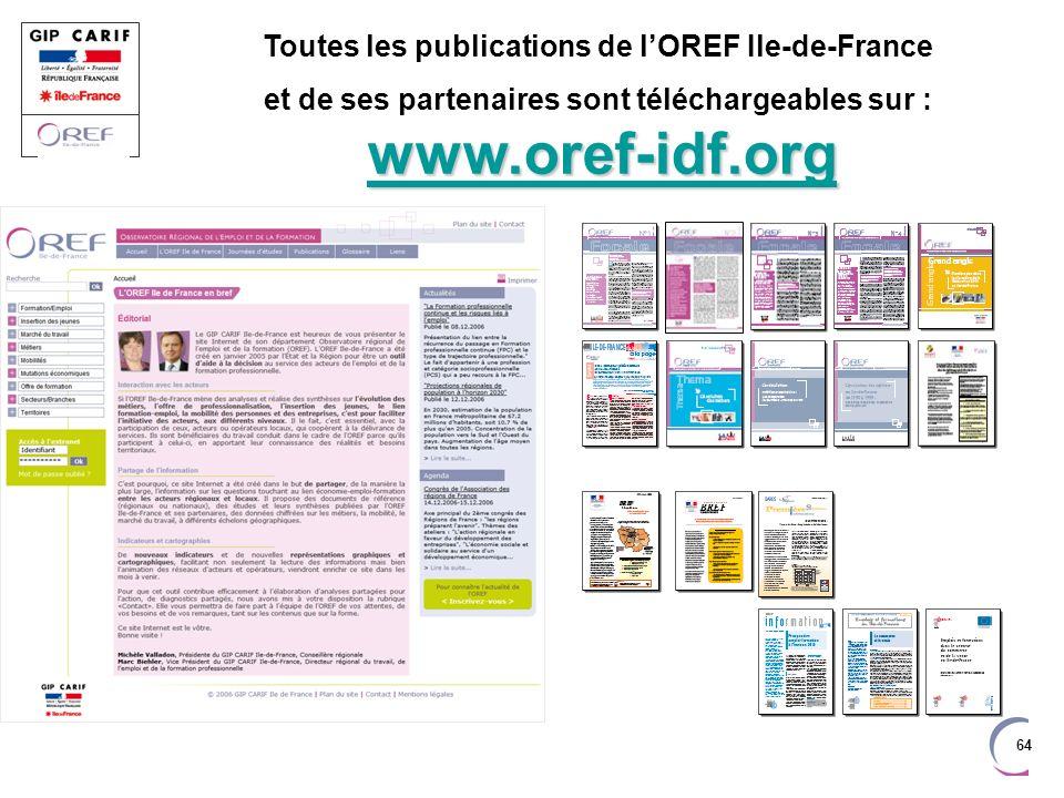 64 Toutes les publications de lOREF Ile-de-France www.oref-idf.org www.oref-idf.org et de ses partenaires sont téléchargeables sur : www.oref-idf.org www.oref-idf.org