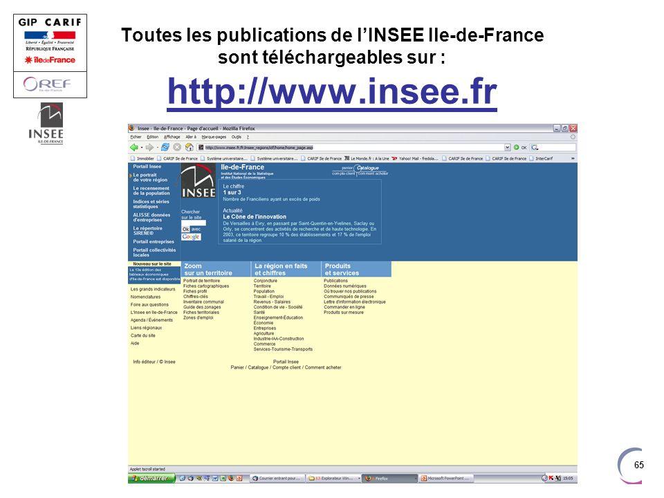 65 Toutes les publications de lINSEE Ile-de-France sont téléchargeables sur : http://www.insee.fr