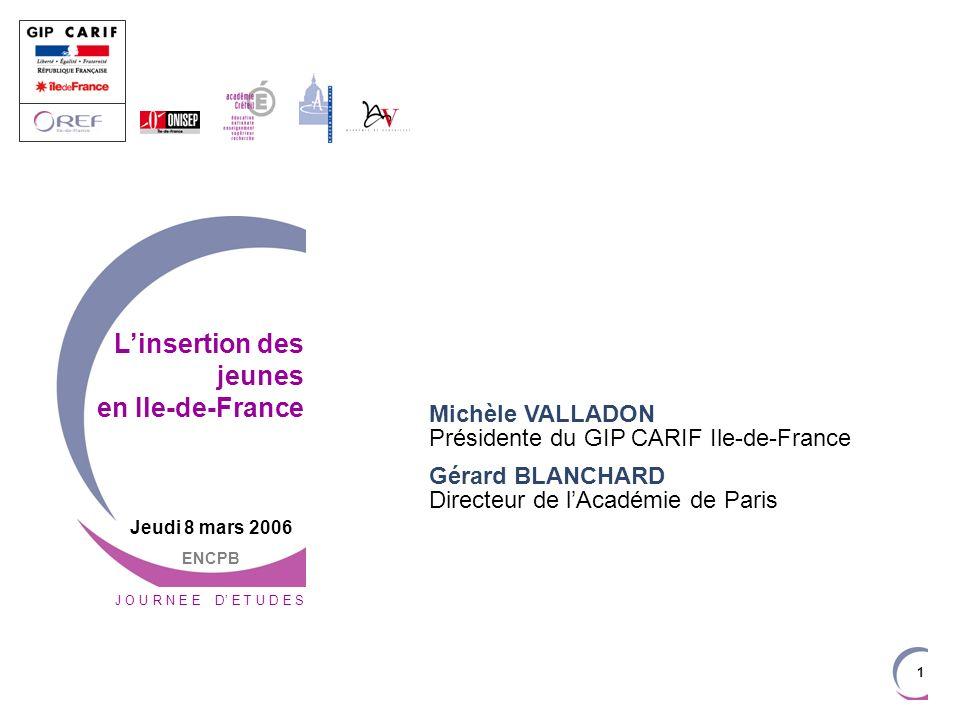 1 Michèle VALLADON Présidente du GIP CARIF Ile-de-France Gérard BLANCHARD Directeur de lAcadémie de Paris J O U R N E E D E T U D E S Linsertion des j