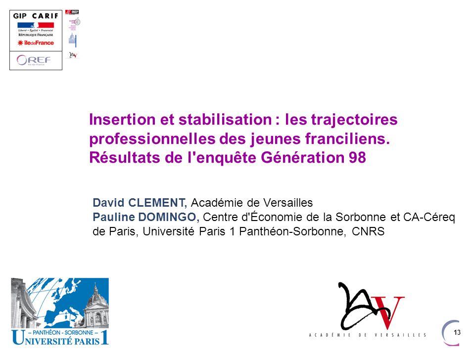 13 Insertion et stabilisation : les trajectoires professionnelles des jeunes franciliens. Résultats de l'enquête Génération 98 David CLEMENT, Académie
