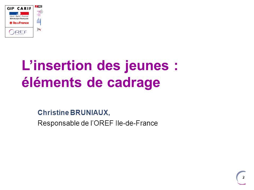 2 Linsertion des jeunes : éléments de cadrage Christine BRUNIAUX, Responsable de lOREF Ile-de-France