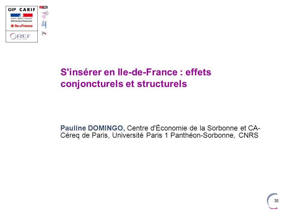 30 S'insérer en Ile-de-France : effets conjoncturels et structurels Pauline DOMINGO, Centre d'Économie de la Sorbonne et CA- Céreq de Paris, Universit