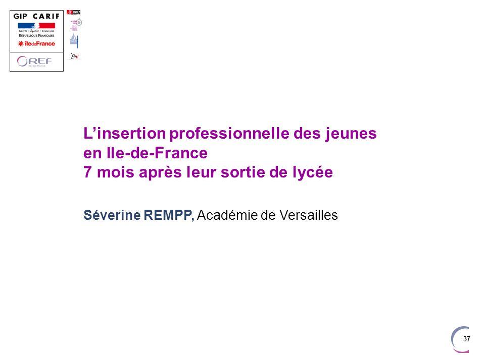 37 Linsertion professionnelle des jeunes en Ile-de-France 7 mois après leur sortie de lycée Séverine REMPP, Académie de Versailles
