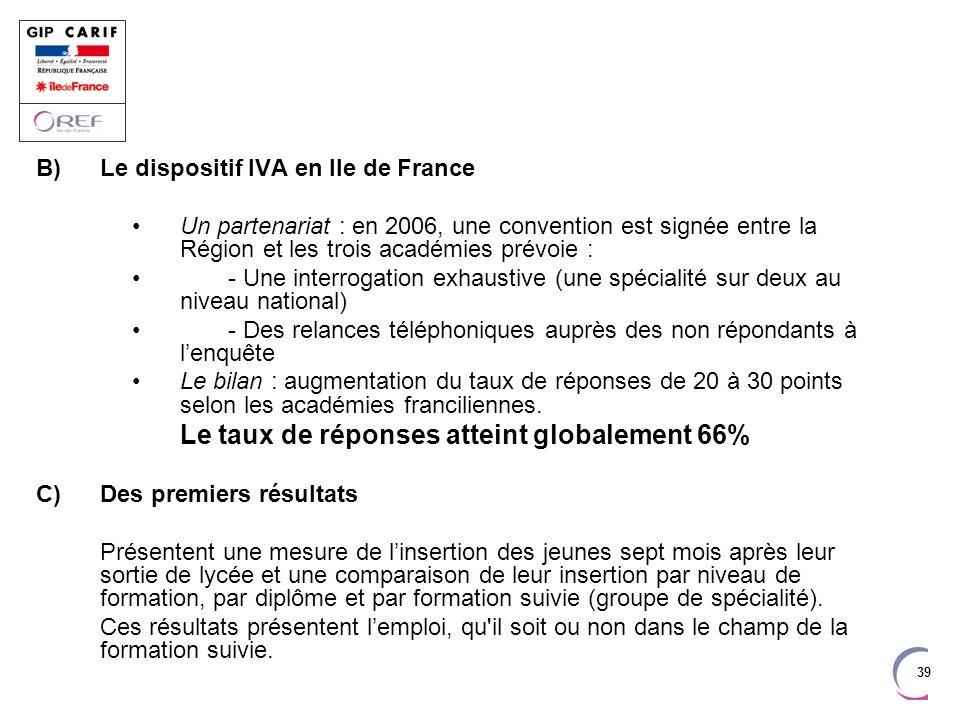 39 B)Le dispositif IVA en Ile de France Un partenariat : en 2006, une convention est signée entre la Région et les trois académies prévoie : - Une int