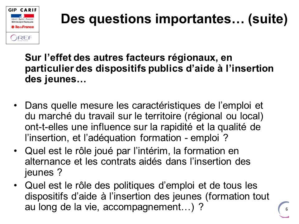 6 Des questions importantes… (suite) Sur leffet des autres facteurs régionaux, en particulier des dispositifs publics daide à linsertion des jeunes… D