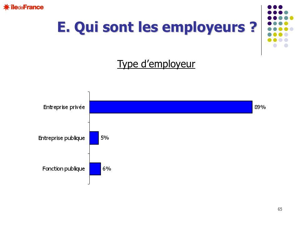 65 Type demployeur E. Qui sont les employeurs ?