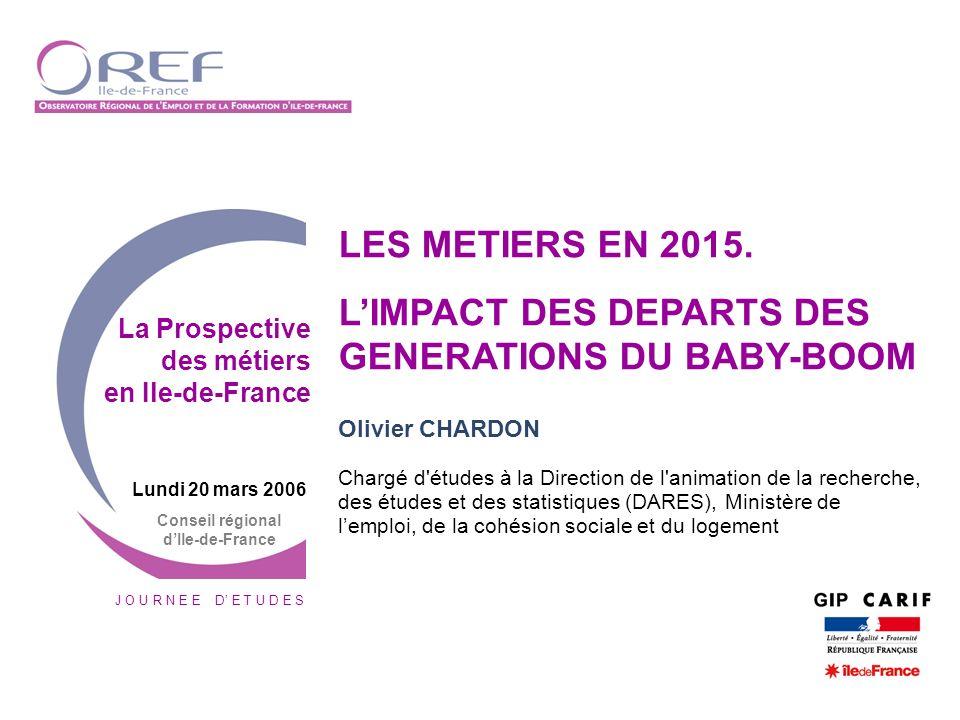 J O U R N E E D E T U D E S Lundi 20 mars 2006 Conseil régional dIle-de-France LES METIERS EN 2015. LIMPACT DES DEPARTS DES GENERATIONS DU BABY-BOOM O