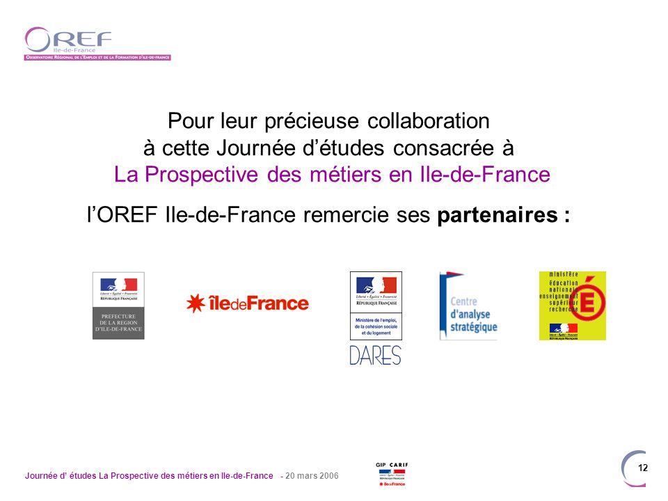Journée d études La Prospective des métiers en Ile-de-France - 20 mars 2006 12 Pour leur précieuse collaboration à cette Journée détudes consacrée à L
