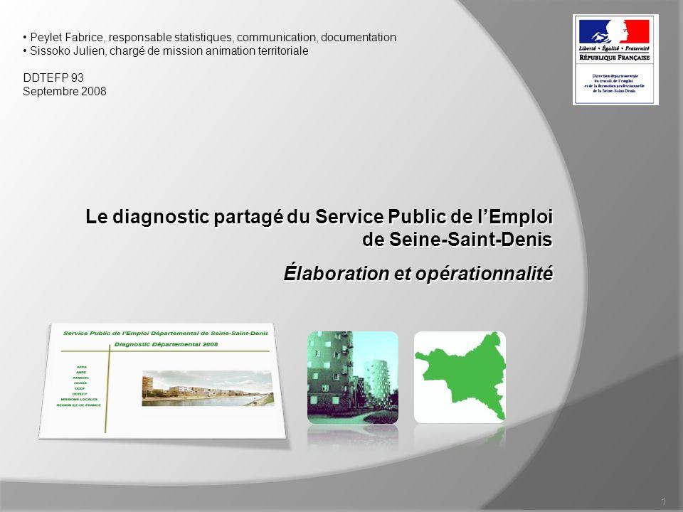 Le diagnostic du SPE de Seine-Saint-Denis, élaboration et limites DDTEFP 93 2 Lélaboration du diagnostic Une vision partagée sur lemploi en Seine-Saint-Denis 1.