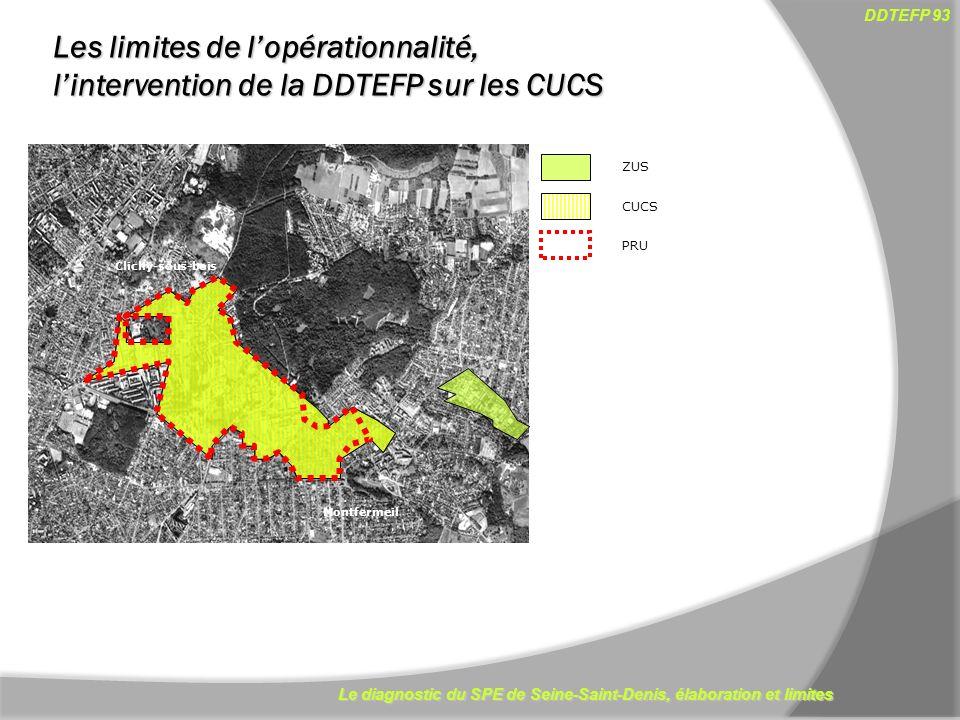 Le diagnostic du SPE de Seine-Saint-Denis, élaboration et limites DDTEFP 93 12 Clichy-sous-bois Montfermeil ZUS CUCS PRU Les limites de lopérationnali