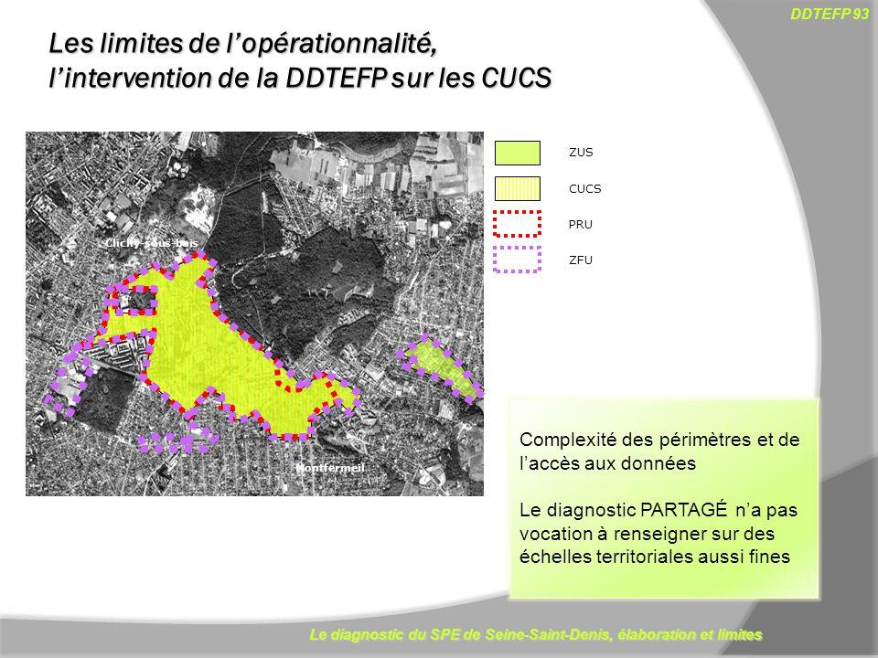 Le diagnostic du SPE de Seine-Saint-Denis, élaboration et limites DDTEFP 93 13 Clichy-sous-bois Montfermeil ZUS CUCS PRU ZFU Complexité des périmètres