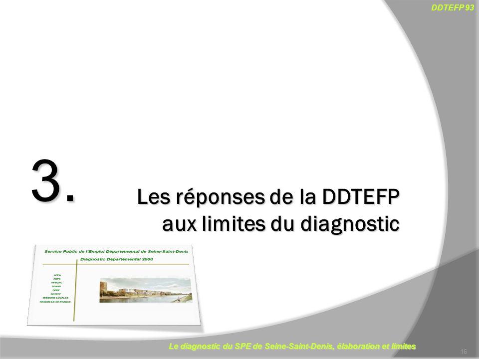 Le diagnostic du SPE de Seine-Saint-Denis, élaboration et limites DDTEFP 93 16 Les réponses de la DDTEFP aux limites du diagnostic 3.