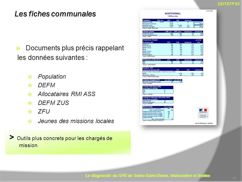 Le diagnostic du SPE de Seine-Saint-Denis, élaboration et limites DDTEFP 93 18 Documents plus précis rappelant les données suivantes : Population DEFM