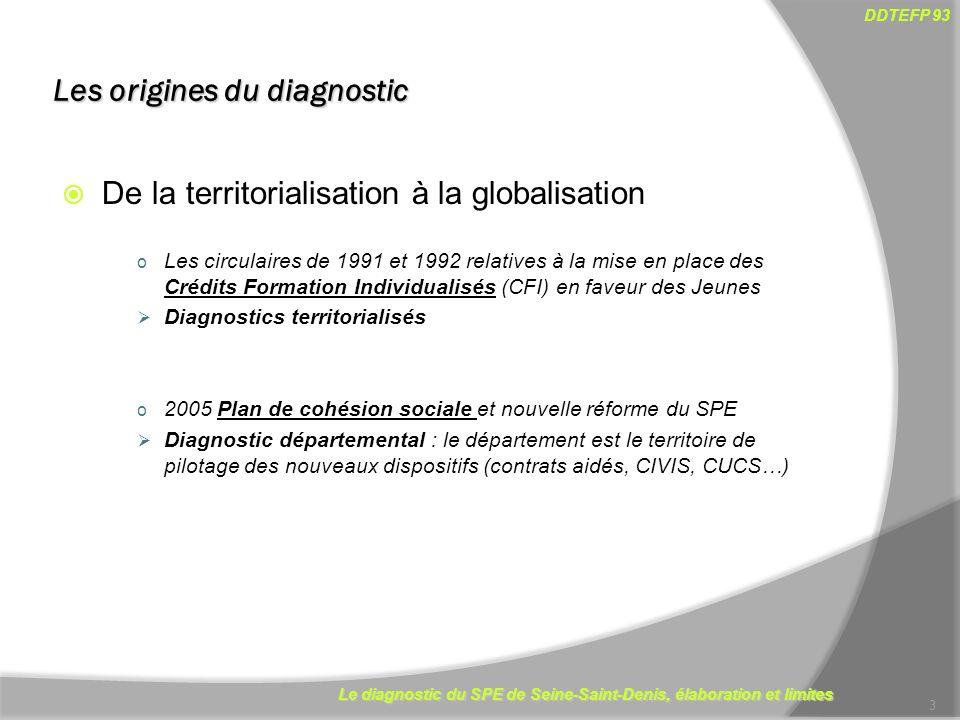 Le diagnostic du SPE de Seine-Saint-Denis, élaboration et limites DDTEFP 93 Les origines du diagnostic De la territorialisation à la globalisation o L